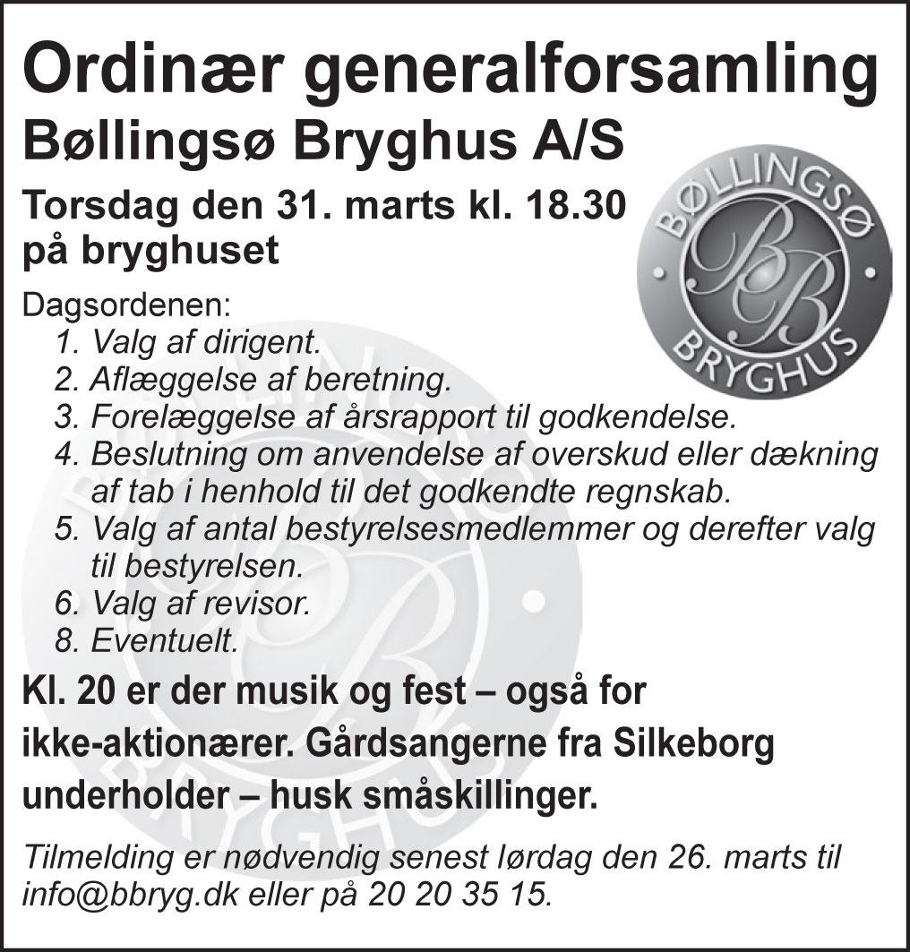 Indkaldelse til generalforsamling 31.3. – Bøllingsø Bryghus